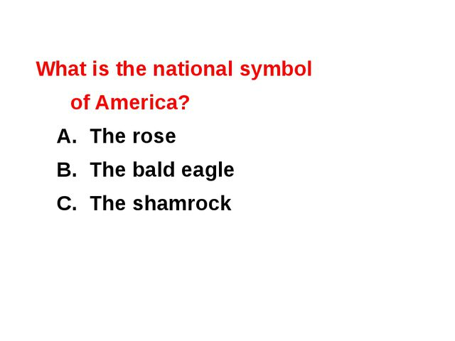 What is the national symbol of America? 	A. The rose 	B. The bald eagle 	C. T...