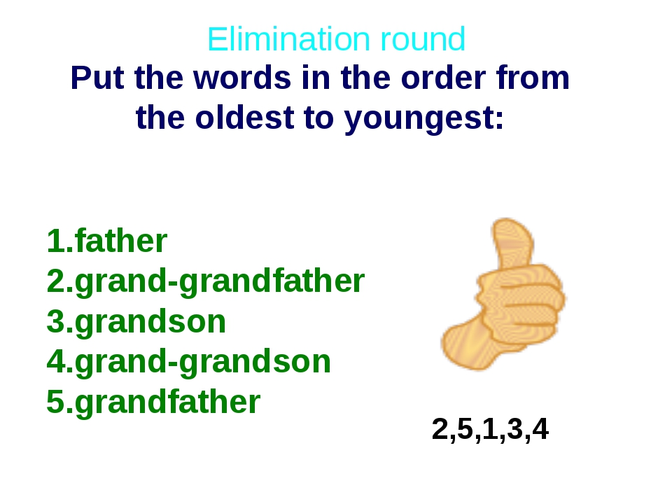 2,5,1,3,4 Put the words in the order from the oldest to youngest: Elimination...