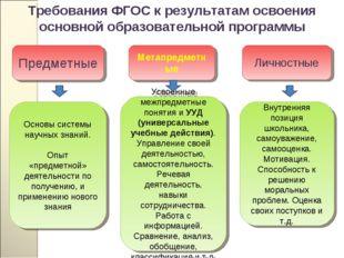 Требования ФГОС к результатам освоения основной образовательной программы Мет