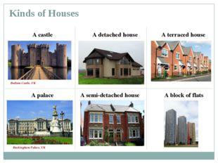 Kinds of Houses A castle A palace A detached house A semi-detached house A te