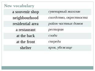 New vocabulary a souvenir shop сувенирный магазин neighbourhood соседство, ок