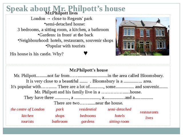 Speak about Mr. Philpott's house Mr.Philpott lives London → close to Regents...