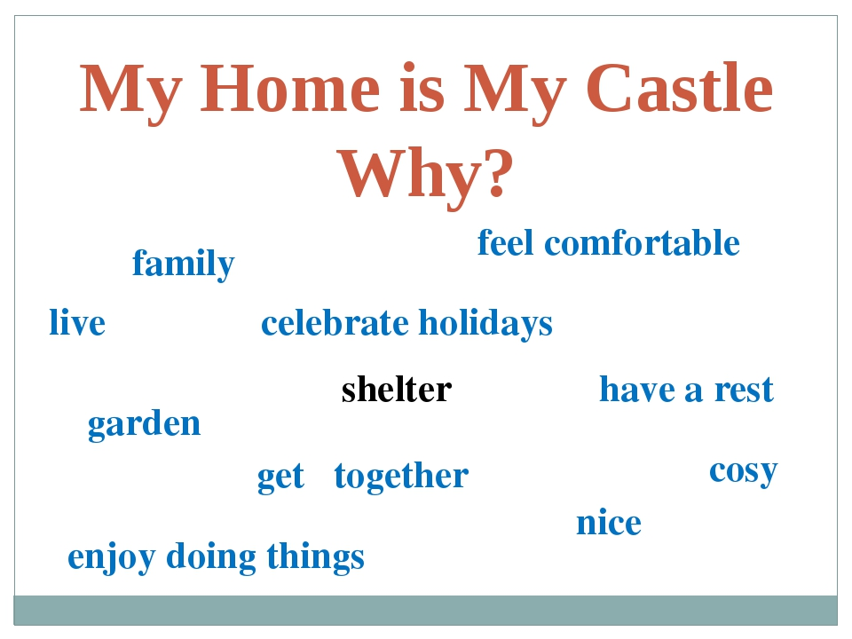 My Home is My Castle Why? family live feel comfortable garden celebrate holid...
