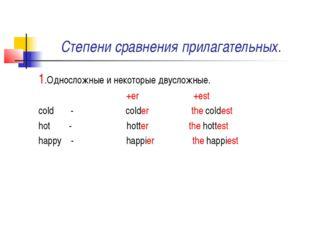 Степени сравнения прилагательных. 1.Односложные и некоторые двусложные. +er +