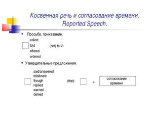 Косвенная речь и согласование времени. Reported Speech. Просьба, приказание.