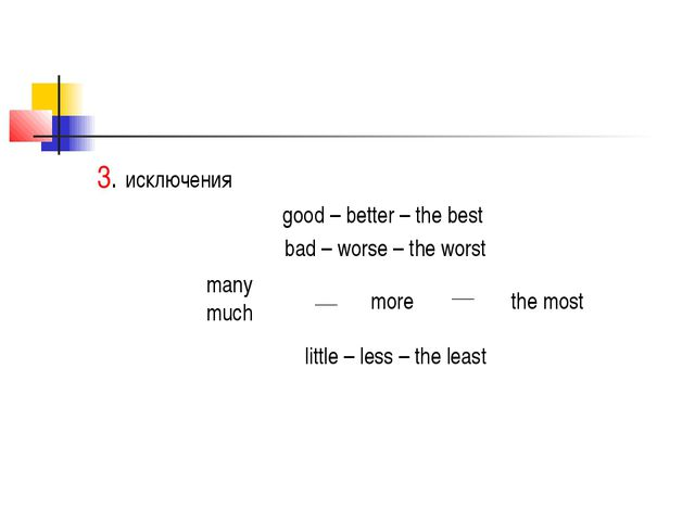 3. исключения good – better – the best bad – worse – the worst many much more...