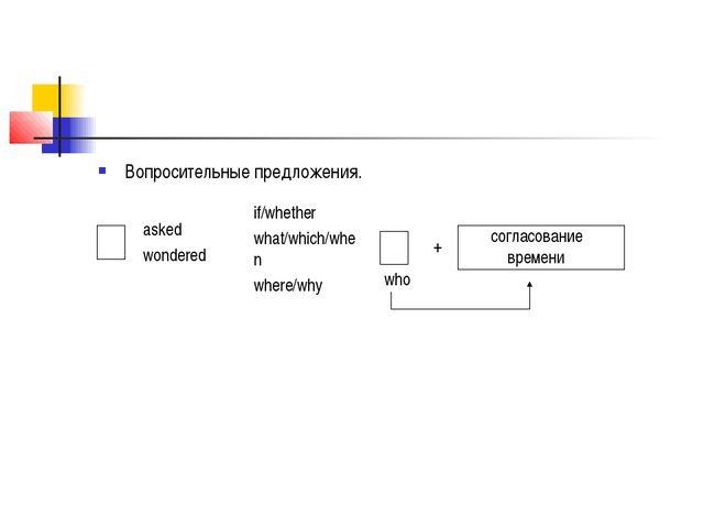 Вопросительные предложения. asked wondered if/whether what/which/when where/w...