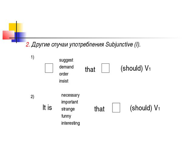 2. Другие случаи употребления Subjunctive (I). 1) suggest demand order insist...