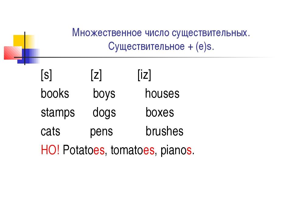 Множественное число существительных. Существительное + (e)s. [s] [z] [iz] boo...