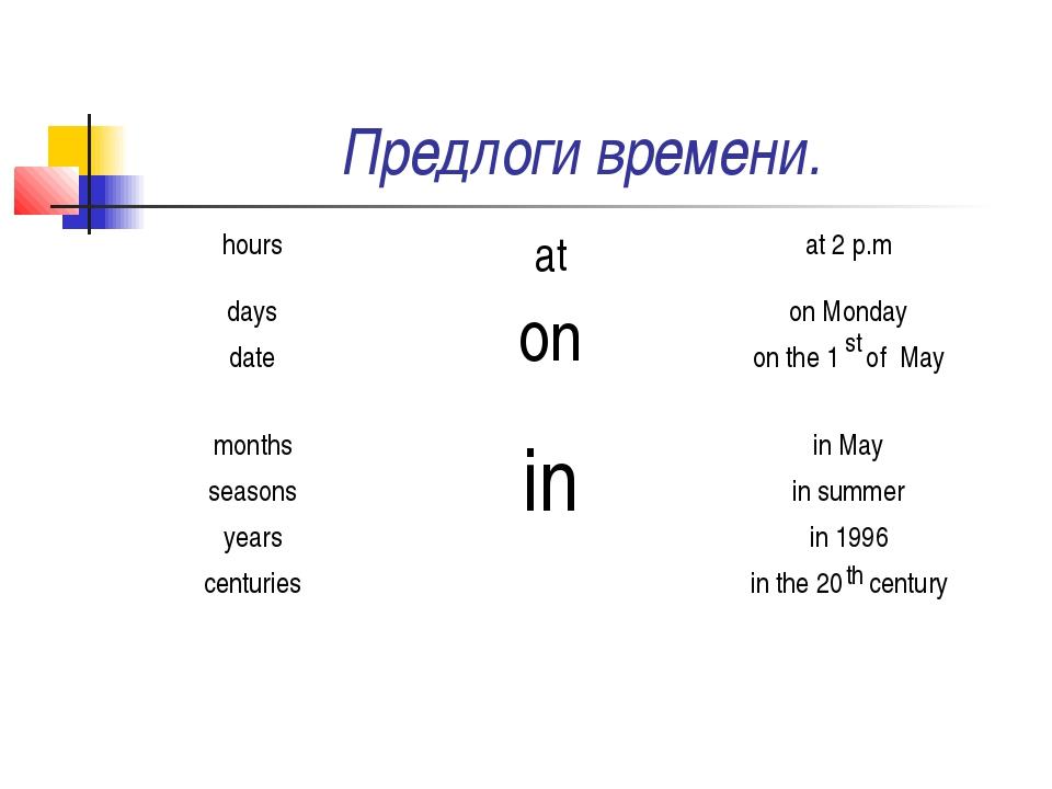 Предлоги времени. st th