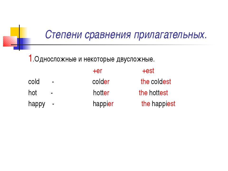 Степени сравнения прилагательных. 1.Односложные и некоторые двусложные. +er +...