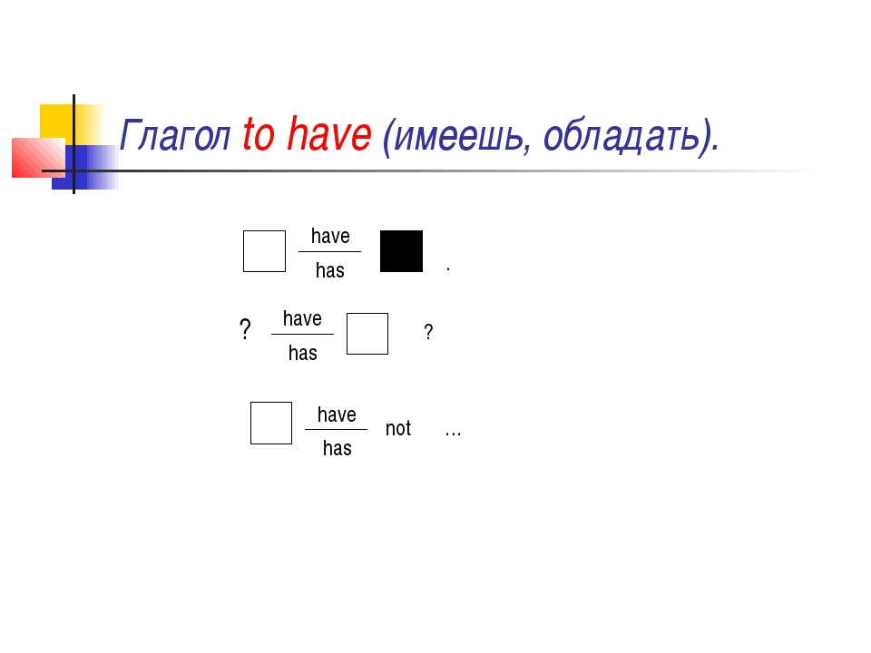 Глагол to have (имеешь, обладать). have has . ? have has ? have has not …