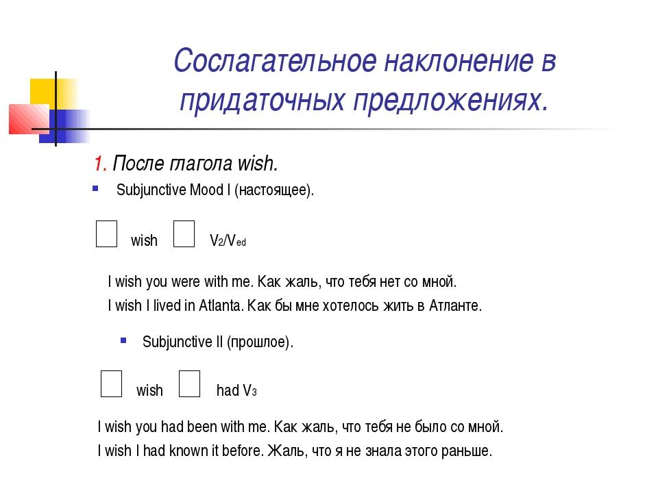 Сослагательное наклонение в придаточных предложениях. 1. После глагола wish....
