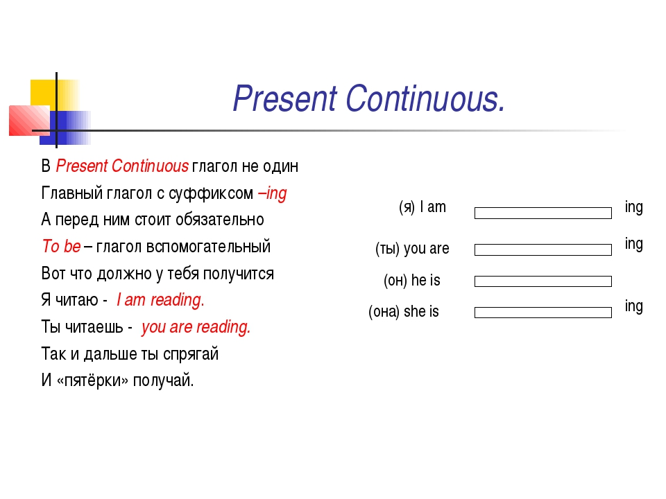 Present Continuous. В Present Continuous глагол не один Главный глагол с суфф...