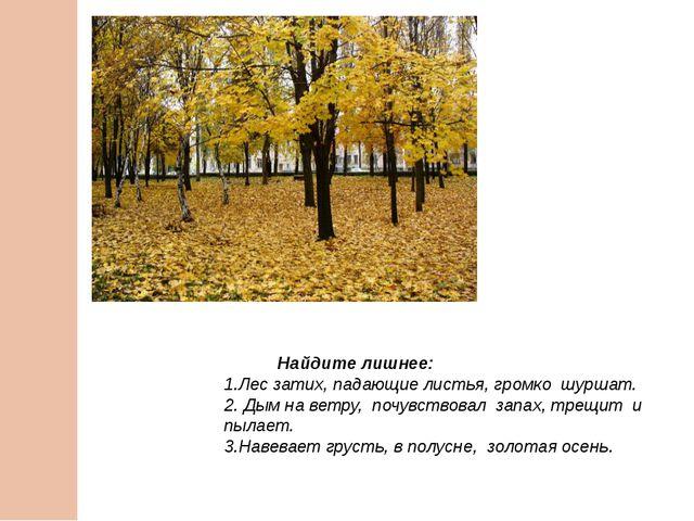 Найдите лишнее: 1.Лес затих, падающие листья, громко шуршат. 2. Дым на ветру...