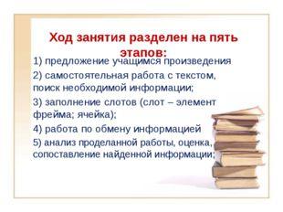 Ход занятия разделен на пять этапов: 1) предложение учащимся произведения 2)