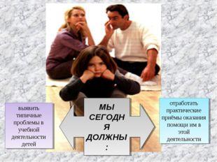 выявить типичные проблемы в учебной деятельности детей отработать практически