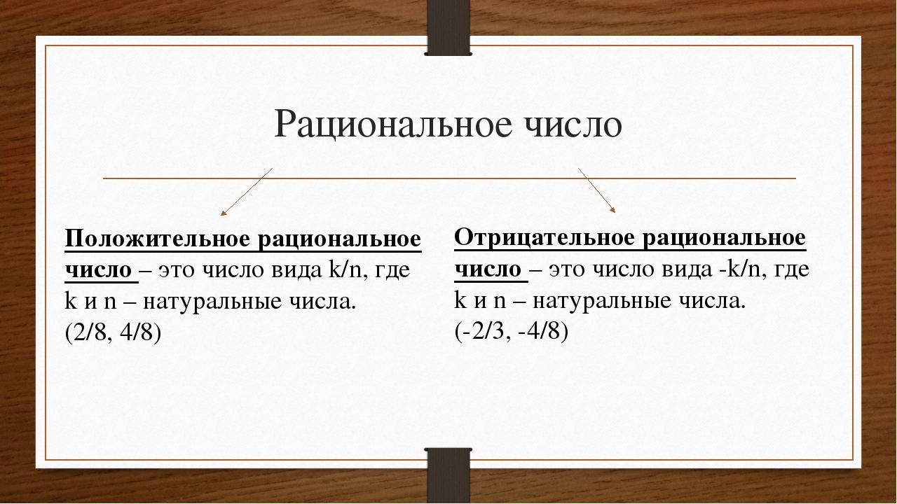 Рациональное число Положительное рациональное число – это число вида k/n, где...