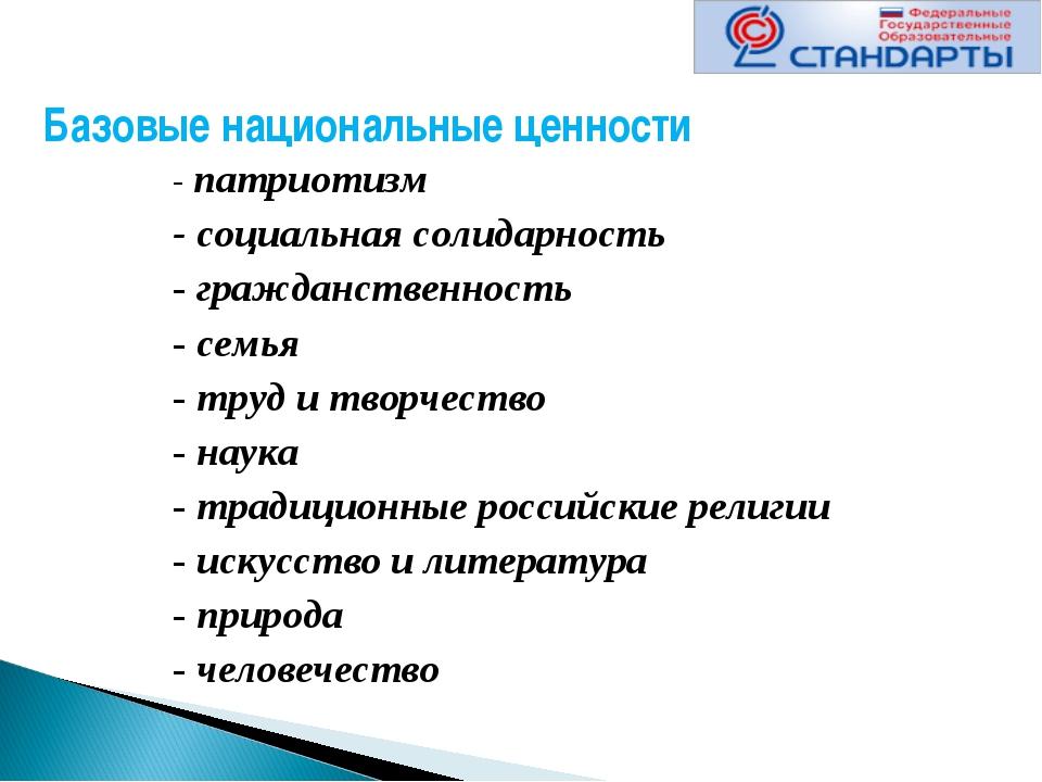 Базовые национальные ценности - патриотизм - социальная солидарность - гражда...