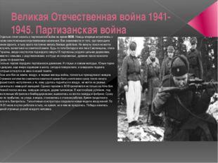 Великая Отечественная война 1941-1945. Партизанская война Отдельно стоит сказ