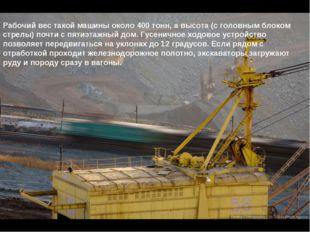 Рабочий вес такой машины около 400 тонн, а высота (с головным блоком стрелы)