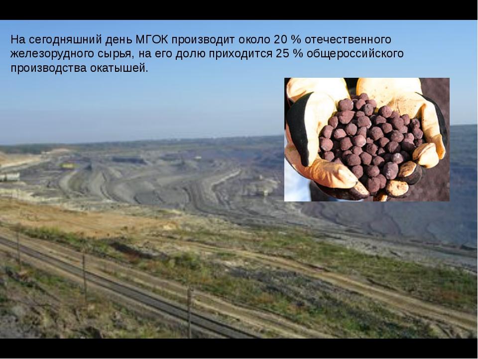 На сегодняшний день МГОК производит около 20 % отечественного железорудного с...