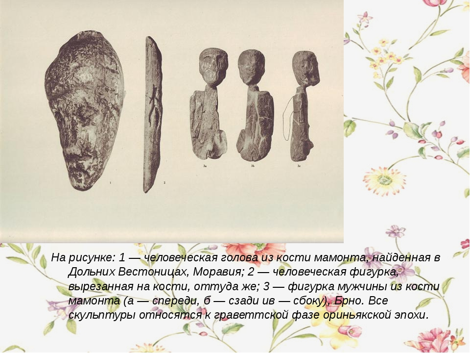 На рисунке: 1 — человеческая голова из кости мамонта, найденная в Дольних Вес...