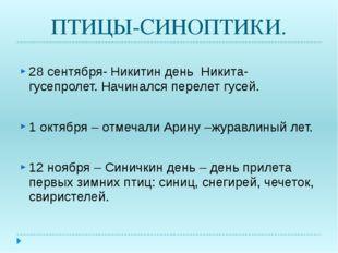 ПТИЦЫ-СИНОПТИКИ. 28 сентября- Никитин день Никита- гусепролет. Начинался пере