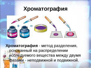 Хроматография Хроматография - метод разделения, основанный на распределении и