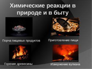 Химические реакции в природе и в быту Извержение вулкана Горение древесины Пр