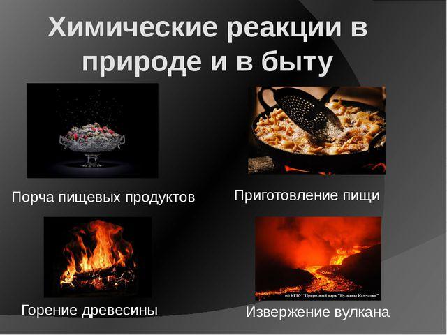 Химические реакции в природе и в быту Извержение вулкана Горение древесины Пр...
