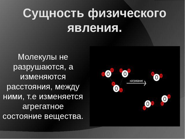 Сущность физического явления. Молекулы не разрушаются, а изменяются расстояни...
