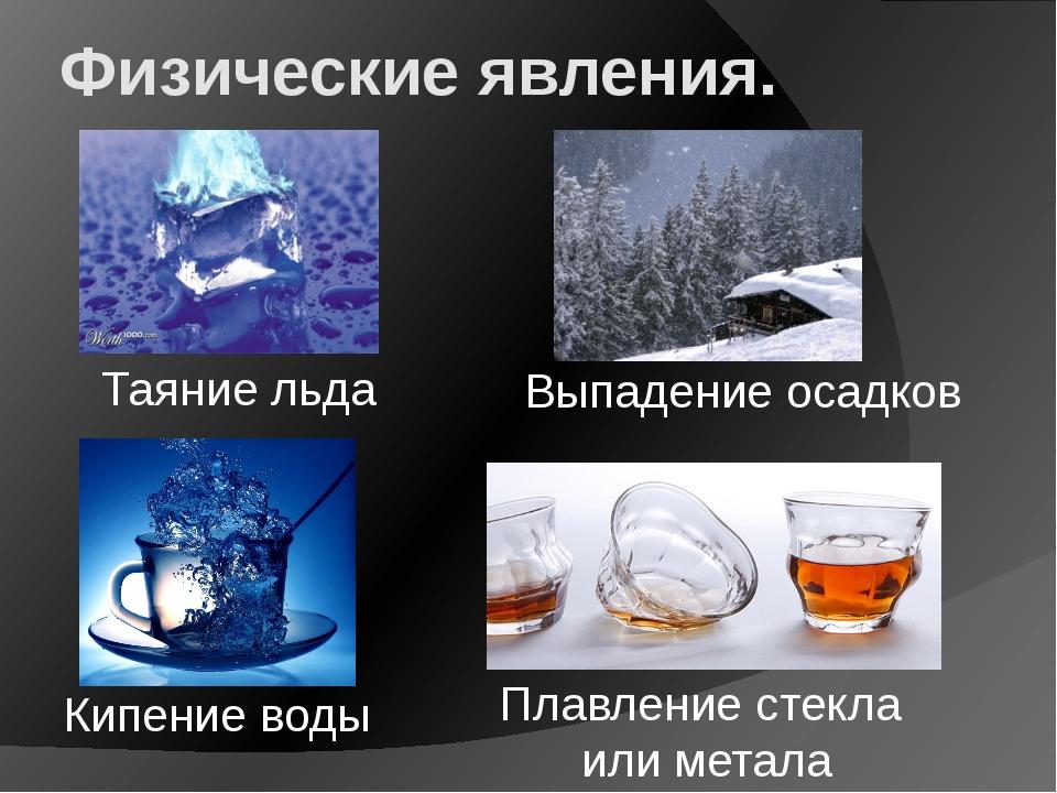 Физические явления. Таяние льда Выпадение осадков Кипение воды Плавление стек...