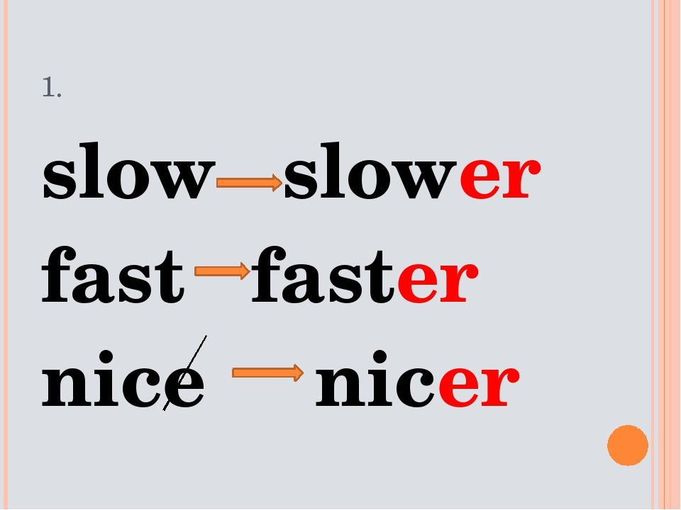 1. slow slower fast faster nice nicer