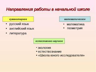Направления работы в начальной школе русский язык английский язык литература