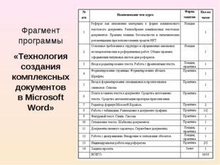 Фрагмент программы «Технология создания комплексных документов в Microsoft Wo