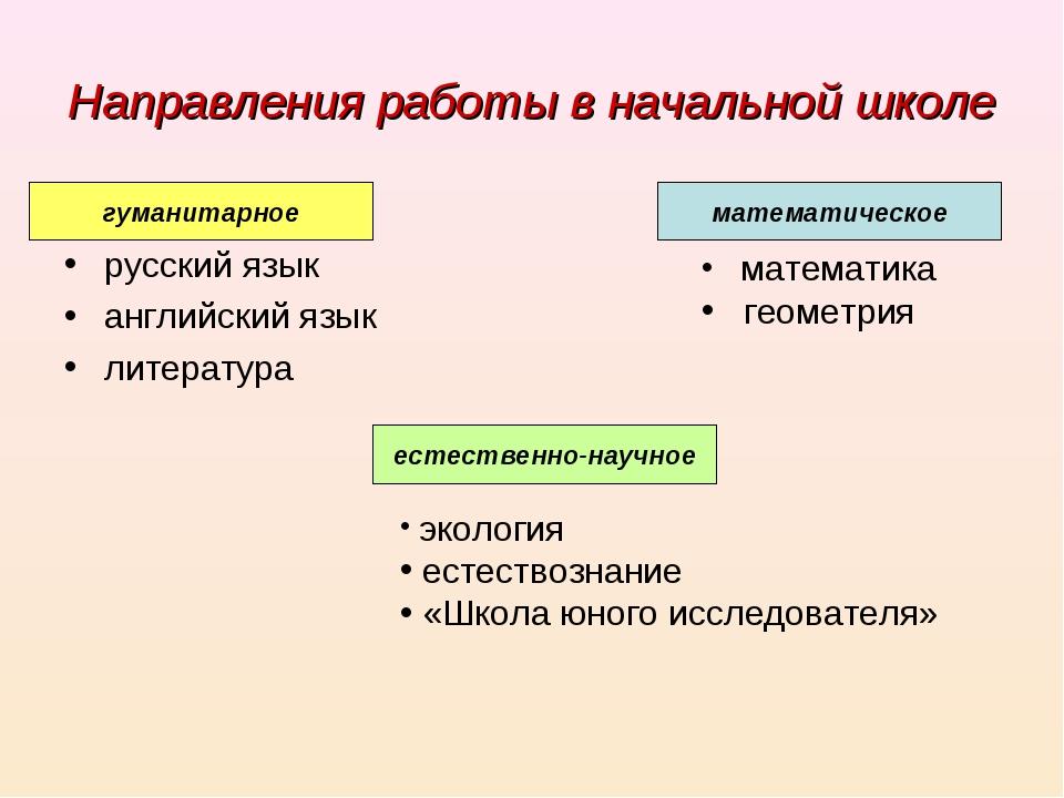 Направления работы в начальной школе русский язык английский язык литература...
