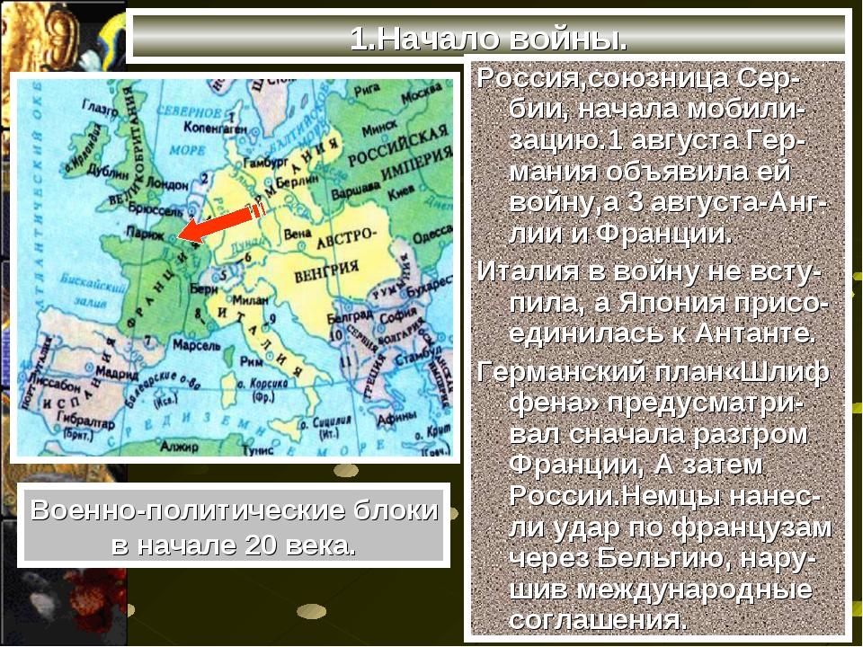 1.Начало войны. Россия,союзница Сер-бии, начала мобили-зацию.1 августа Гер-ма...