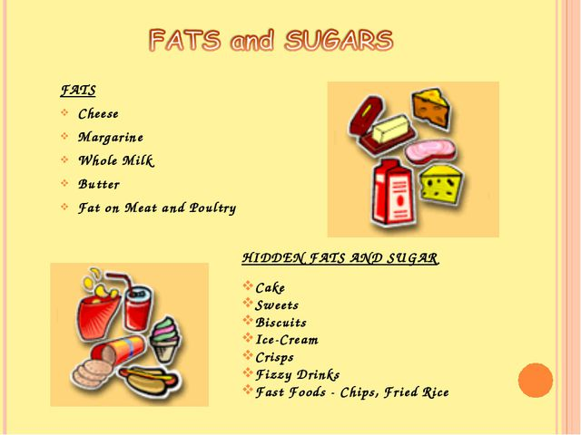 FATS Cheese Margarine Whole Milk Butter Fat on Meat and Poultry HIDDEN FATS A...