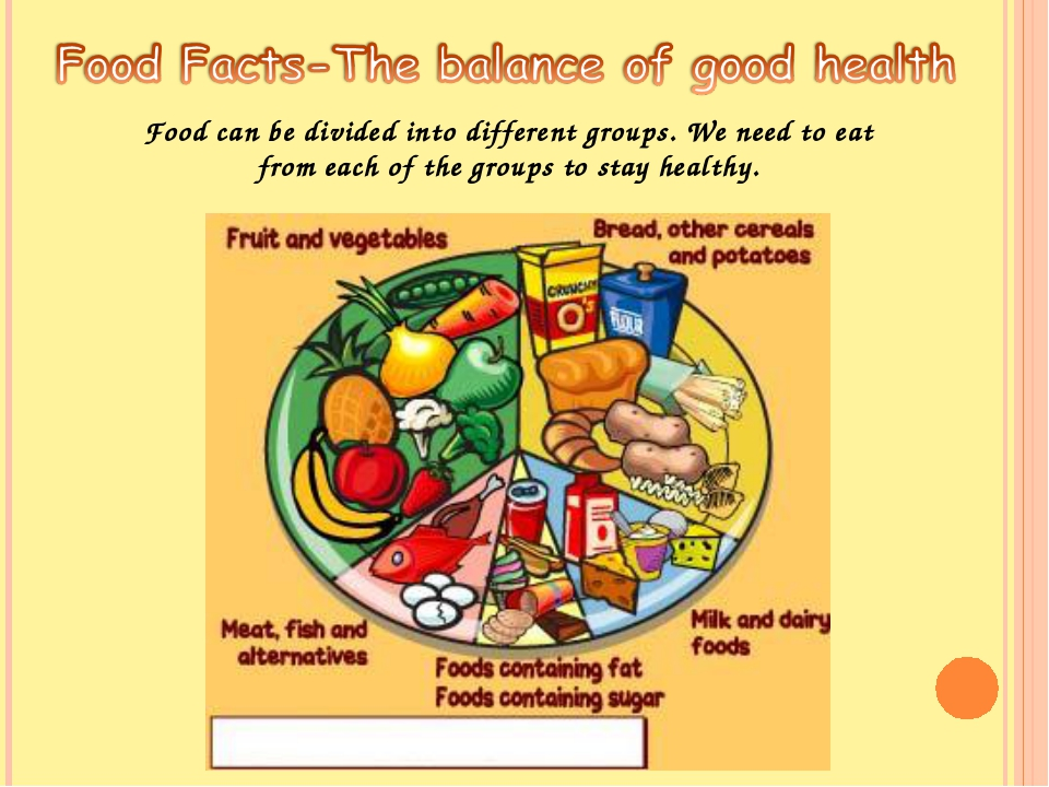 Food can be divided into different groups. We need to eat from each of the gr...