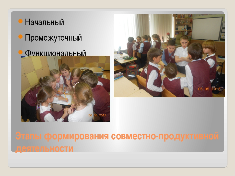 Этапы формирования совместно-продуктивной деятельности Начальный Промежуточны...