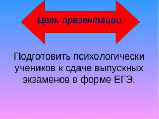 Подготовить психологически учеников к сдаче выпускных экзаменов в форме ЕГЭ.