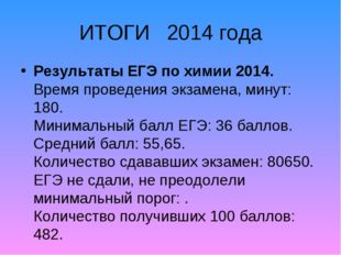 ИТОГИ 2014 года Результаты ЕГЭ по химии 2014. Время проведения экзамена, мину