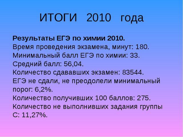 ИТОГИ 2010 года Результаты ЕГЭ по химии 2010. Время проведения экзамена, мину...