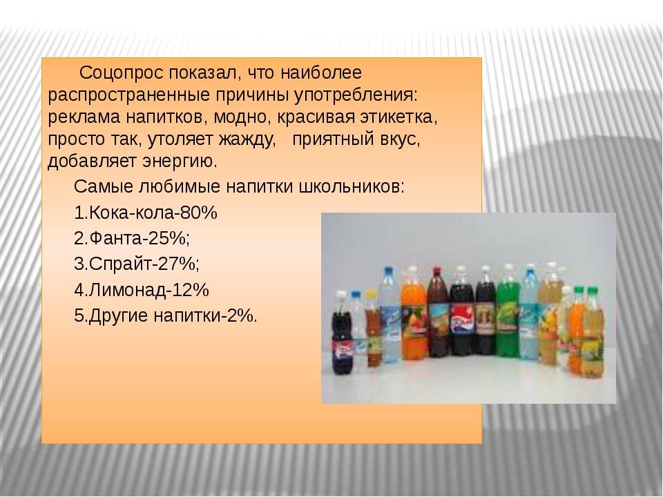 Соцопрос показал, что наиболее распространенные причины употребления: реклам...