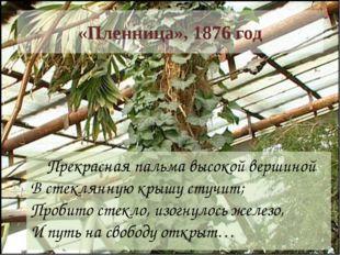«Пленница», 1876 год     Прекрасная пальма высокой вершиной  В стеклянную кр
