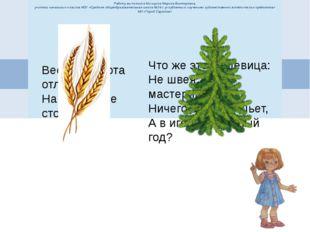 Работу выполнила Косицына Марина Викторовна, учитель начальных классов МОУ «С