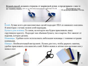 Второй способ: возьмем стержень от шариковой ручки. и проделываем с ним те же