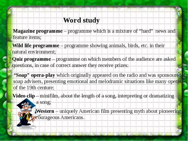 """Word study Magazine programme – programme which is a mixture of """"hard"""" news a..."""