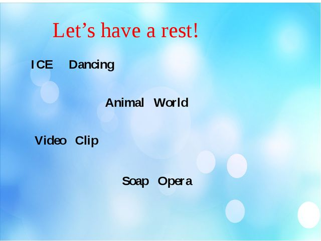 Let's have a rest! ICE Dancing Animal World Video Clip Soap Opera